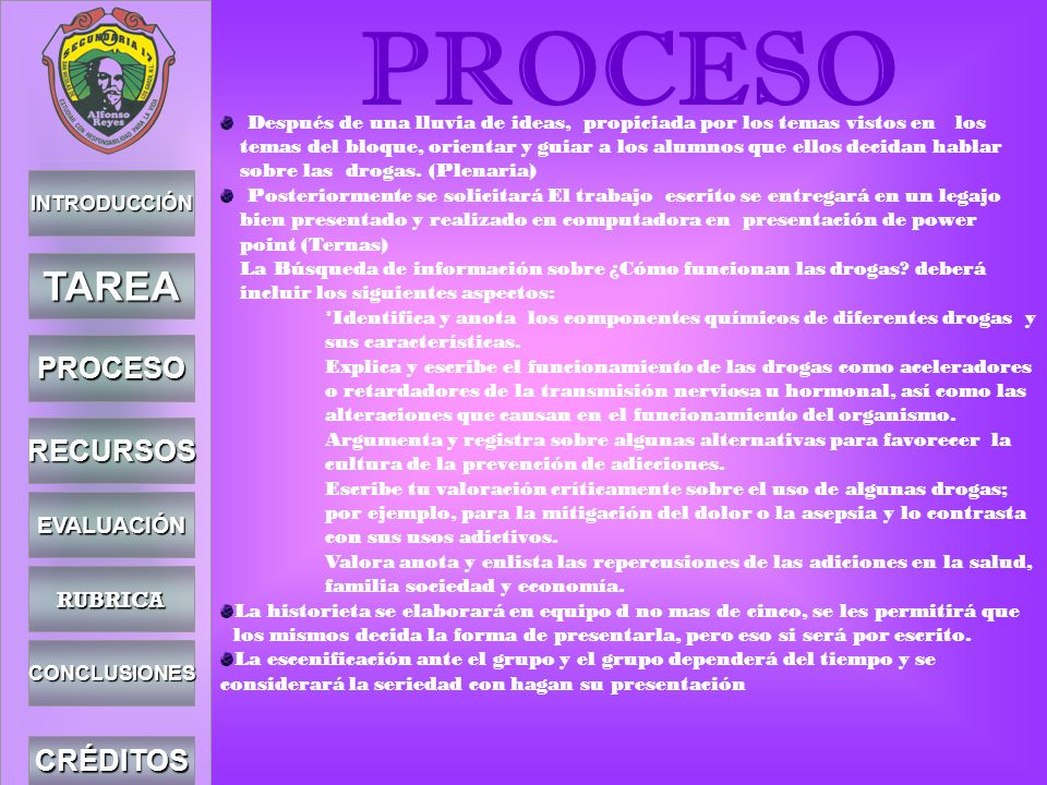 PROCESO TAREA PROCESO RECURSOS CRÉDITOS EVALUACIÓN RUBRICA