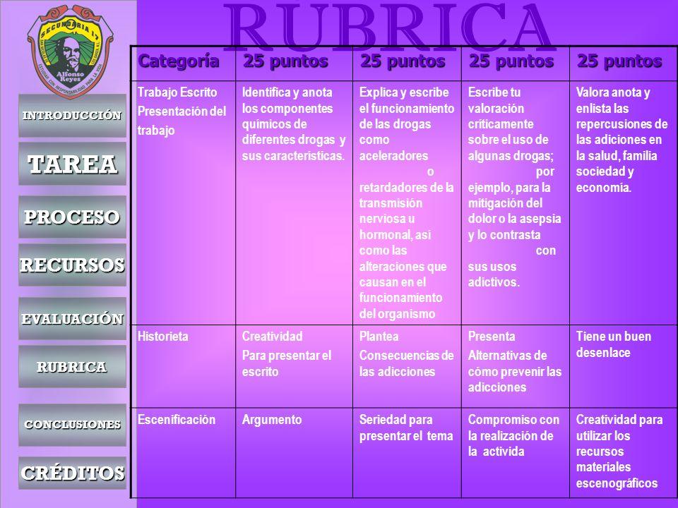 RÚBRICA TAREA PROCESO RECURSOS CRÉDITOS Categoría 25 puntos EVALUACIÓN