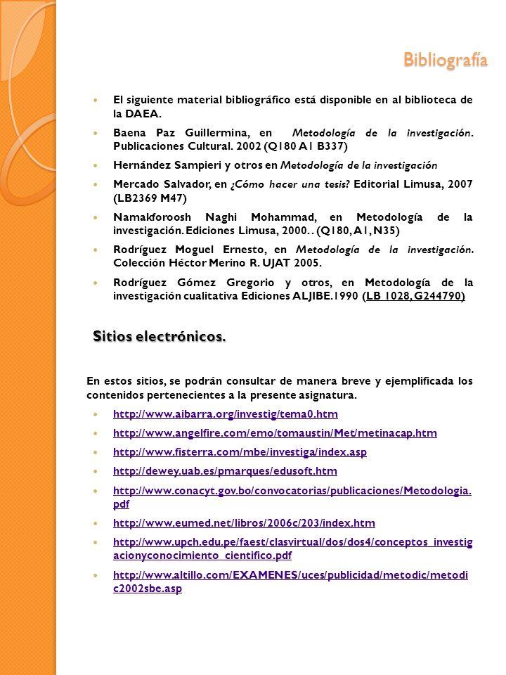 Bibliografía Sitios electrónicos.