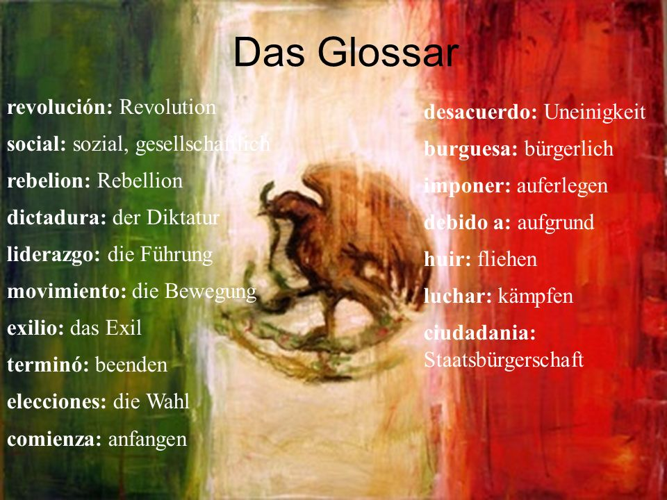 Das Glossar revolución: Revolution desacuerdo: Uneinigkeit