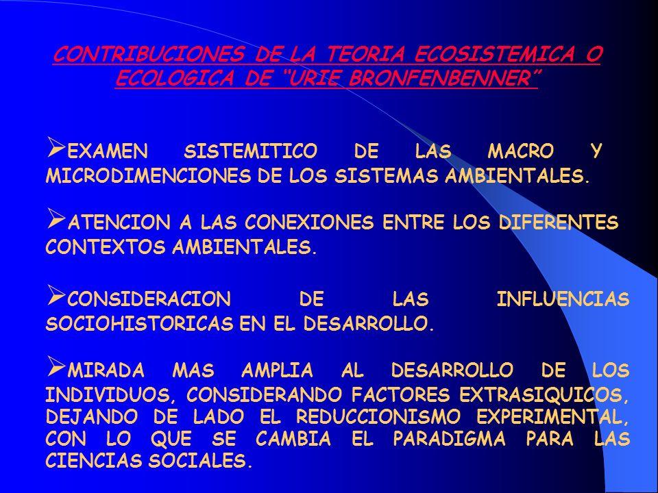 ATENCION A LAS CONEXIONES ENTRE LOS DIFERENTES CONTEXTOS AMBIENTALES.