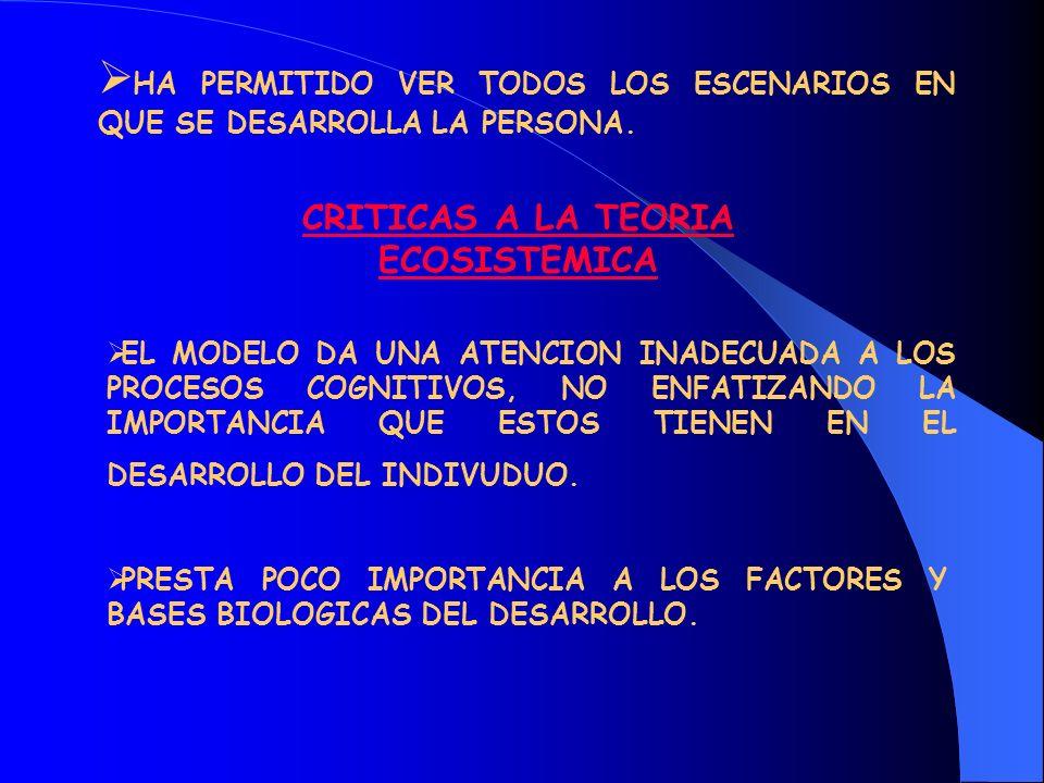CRITICAS A LA TEORIA ECOSISTEMICA