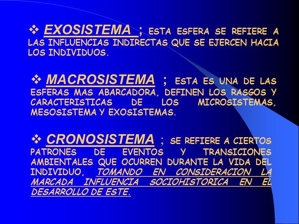 EXOSISTEMA ; ESTA ESFERA SE REFIERE A LAS INFLUENCIAS INDIRECTAS QUE SE EJERCEN HACIA LOS INDIVIDUOS.