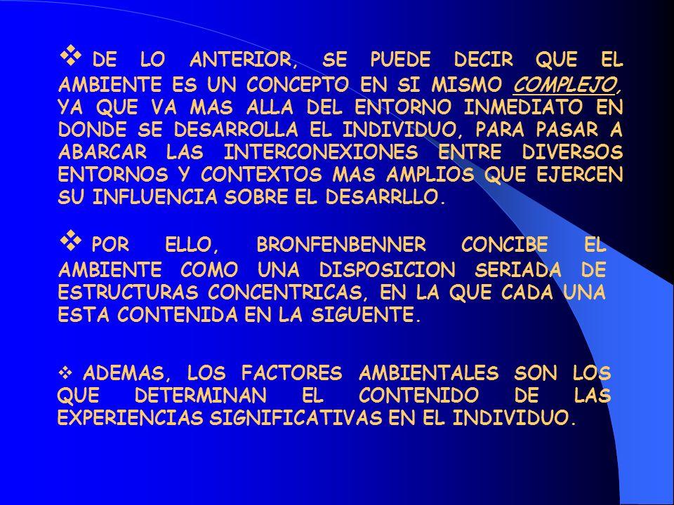 DE LO ANTERIOR, SE PUEDE DECIR QUE EL AMBIENTE ES UN CONCEPTO EN SI MISMO COMPLEJO, YA QUE VA MAS ALLA DEL ENTORNO INMEDIATO EN DONDE SE DESARROLLA EL INDIVIDUO, PARA PASAR A ABARCAR LAS INTERCONEXIONES ENTRE DIVERSOS ENTORNOS Y CONTEXTOS MAS AMPLIOS QUE EJERCEN SU INFLUENCIA SOBRE EL DESARRLLO.