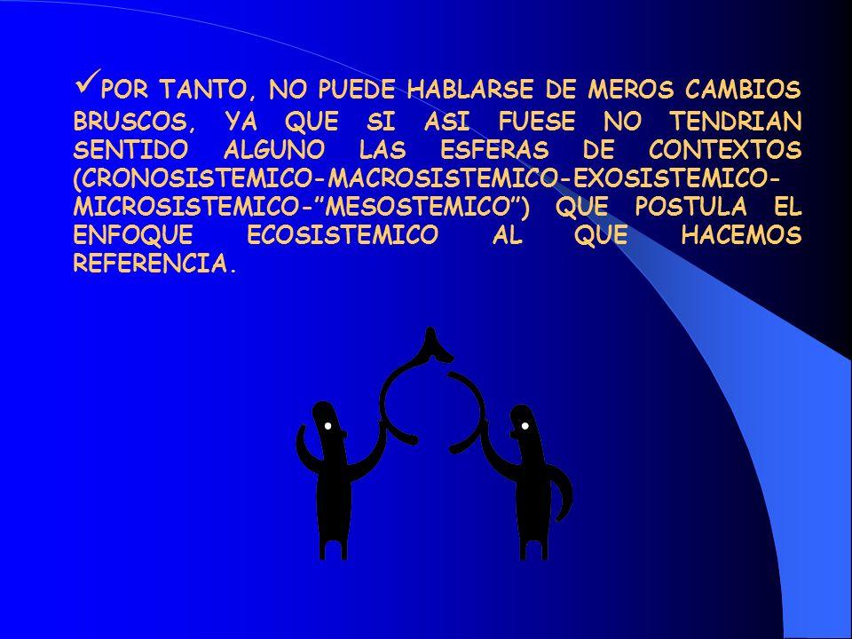 POR TANTO, NO PUEDE HABLARSE DE MEROS CAMBIOS BRUSCOS, YA QUE SI ASI FUESE NO TENDRIAN SENTIDO ALGUNO LAS ESFERAS DE CONTEXTOS (CRONOSISTEMICO-MACROSISTEMICO-EXOSISTEMICO-MICROSISTEMICO- MESOSTEMICO ) QUE POSTULA EL ENFOQUE ECOSISTEMICO AL QUE HACEMOS REFERENCIA.