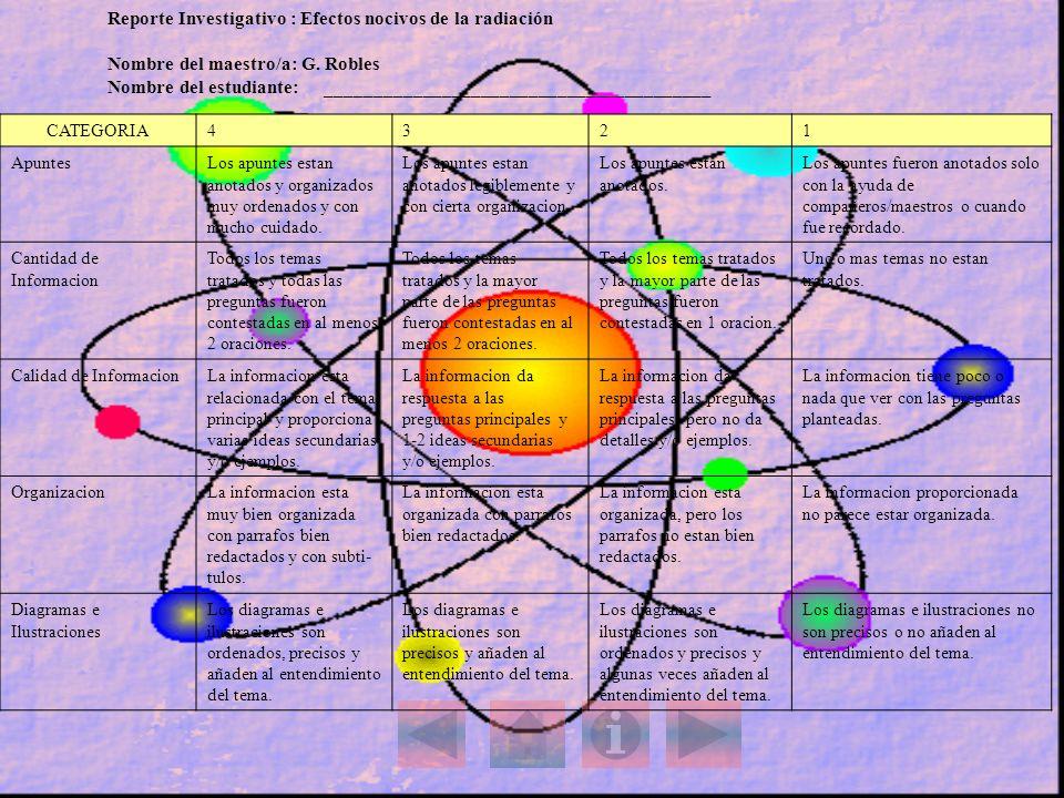 Reporte Investigativo : Efectos nocivos de la radiación