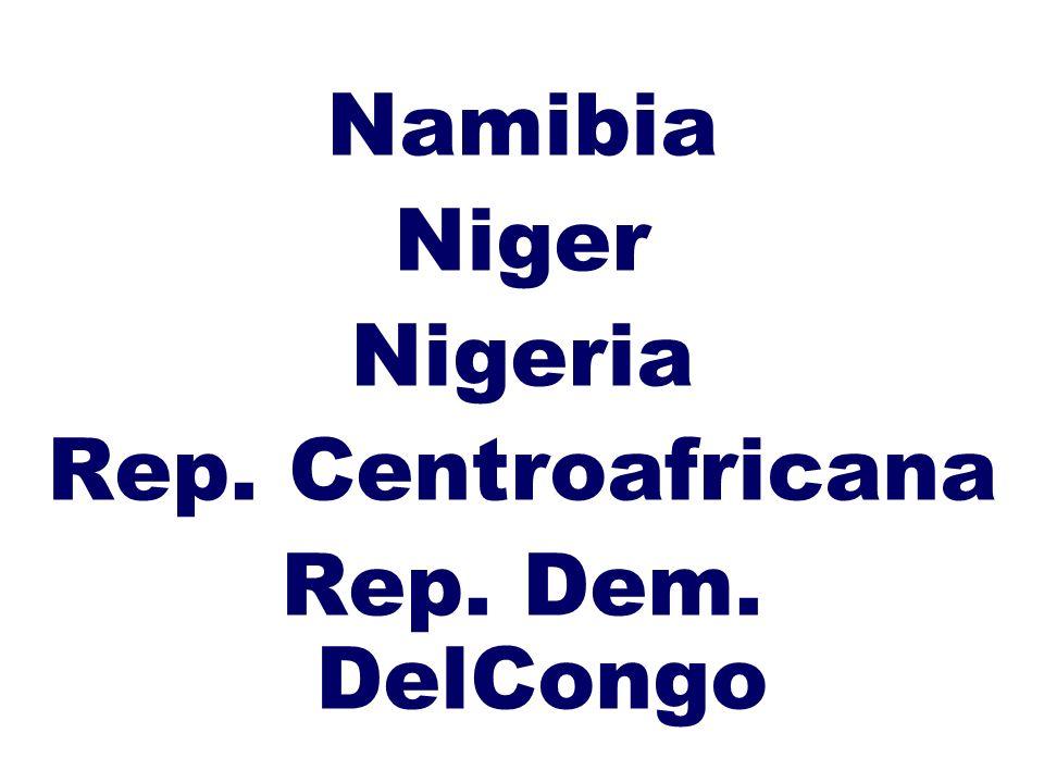 Namibia Niger Nigeria Rep. Centroafricana Rep. Dem. DelCongo