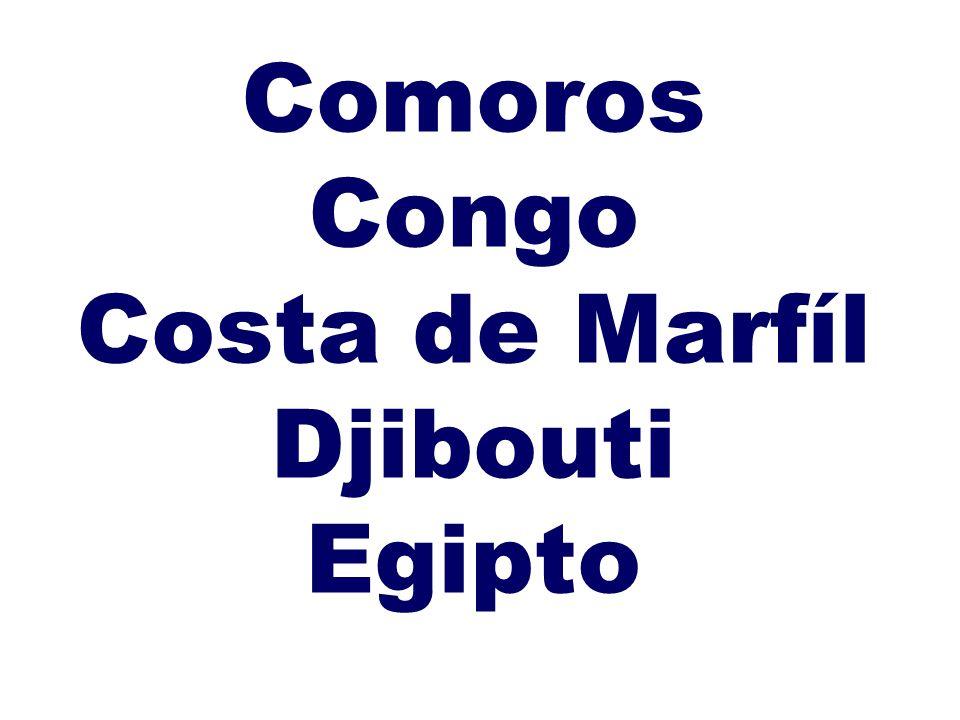 Comoros Congo Costa de Marfíl Djibouti Egipto