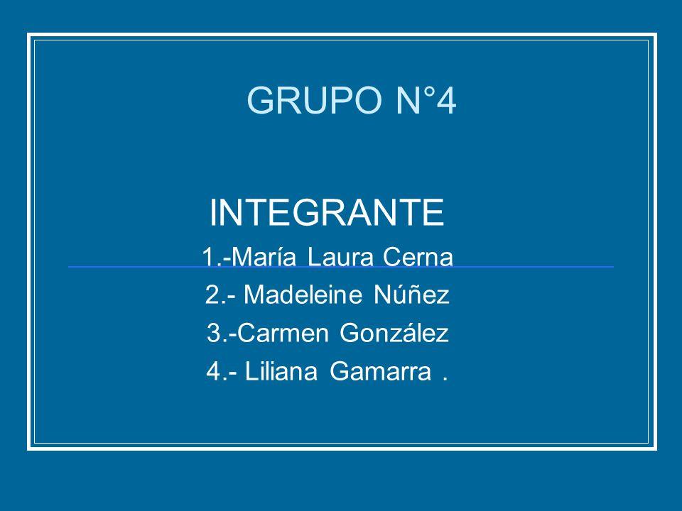GRUPO N°4 INTEGRANTE 1.-María Laura Cerna 2.- Madeleine Núñez