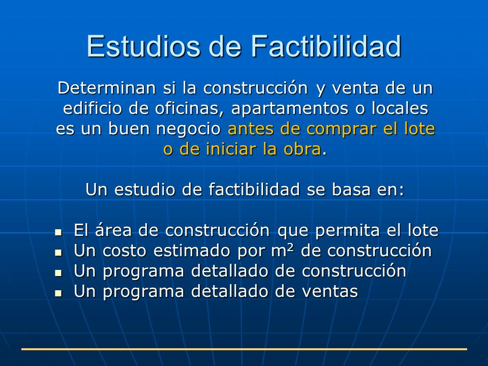 Estudios de factibilidad para proyectos de construcci n for Oficina de proyectos de construccion