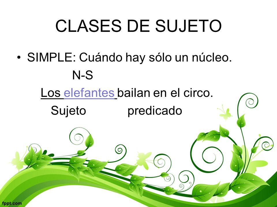 CLASES DE SUJETO SIMPLE: Cuándo hay sólo un núcleo. N-S