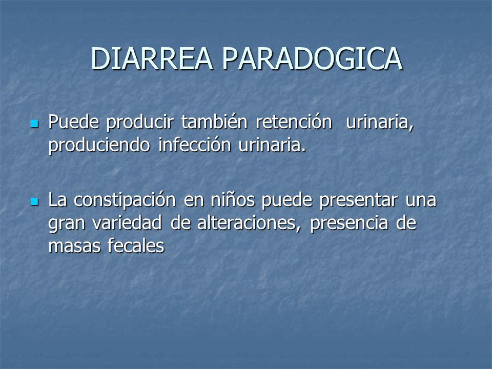 DIARREA PARADOGICA Puede producir también retención urinaria, produciendo infección urinaria.