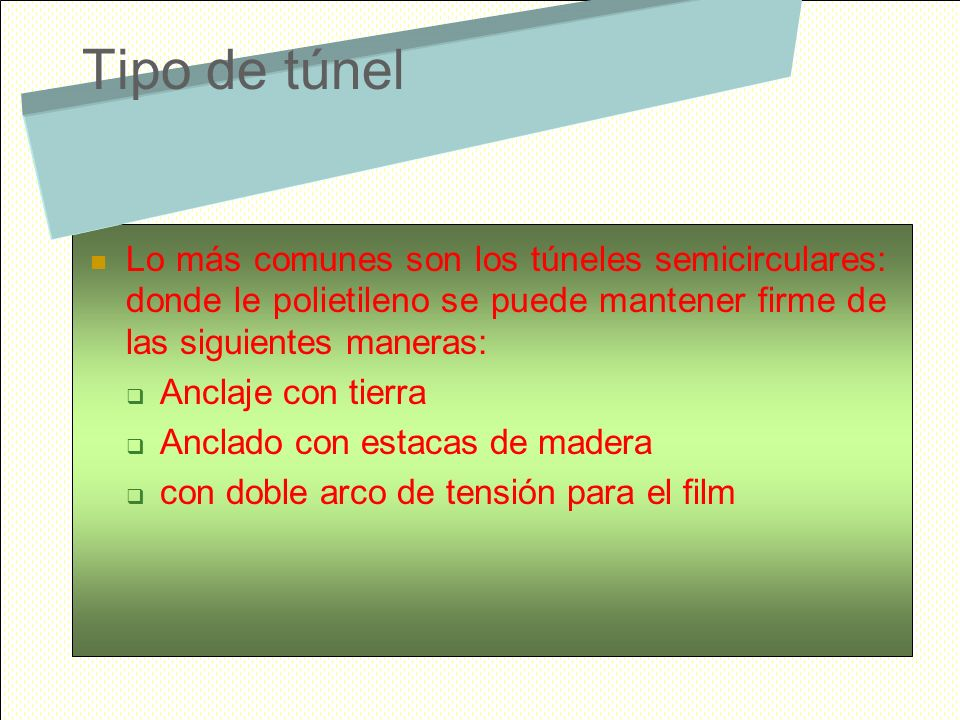 Tipo de túnel Lo más comunes son los túneles semicirculares: donde le polietileno se puede mantener firme de las siguientes maneras: