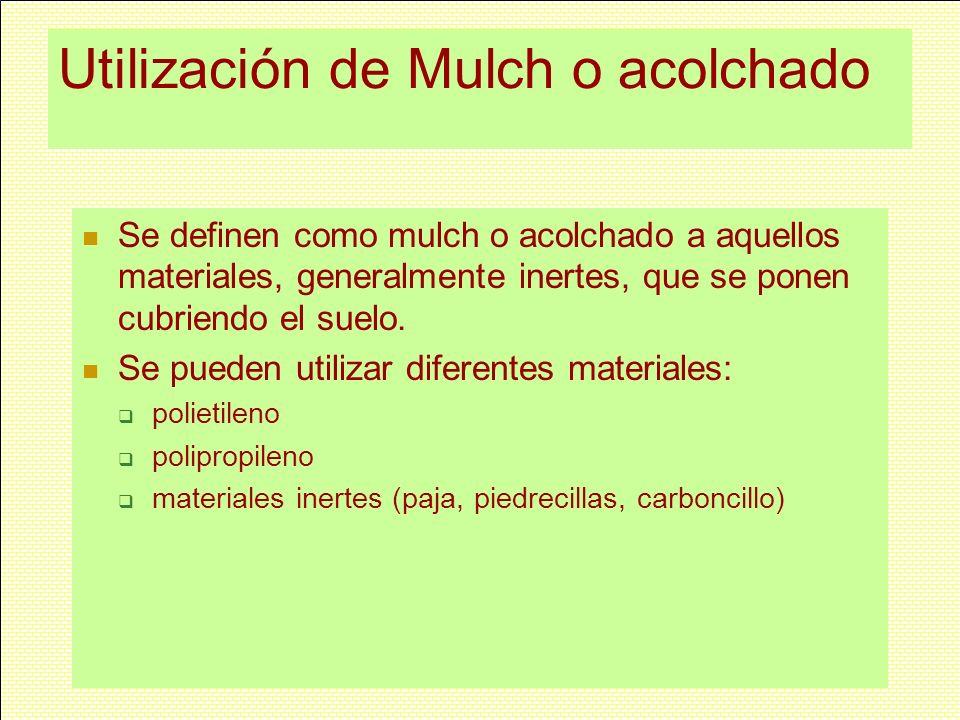 Utilización de Mulch o acolchado
