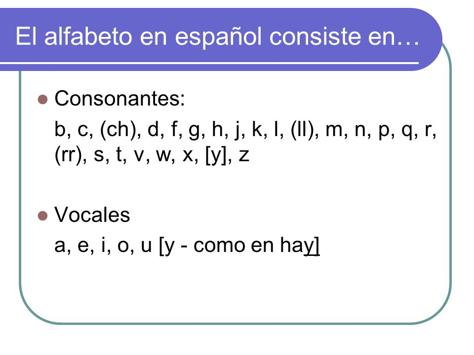 El alfabeto en español consiste en…