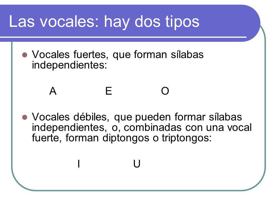 Las vocales: hay dos tipos