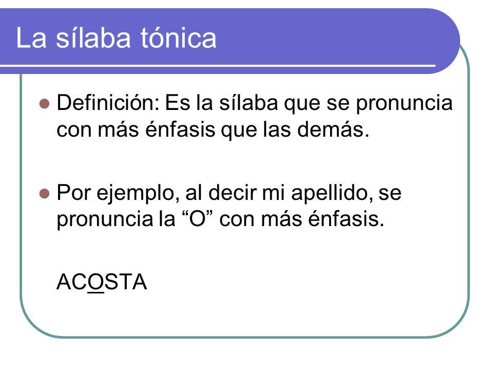 La sílaba tónica Definición: Es la sílaba que se pronuncia con más énfasis que las demás.