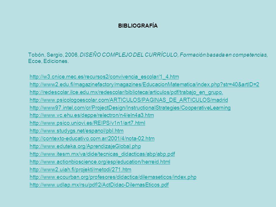 BIBLIOGRAFÍA Tobón, Sergio, 2006, DISEÑO COMPLEJO DEL CURRÍCULO, Formación basada en competencias, Ecoe, Ediciones.