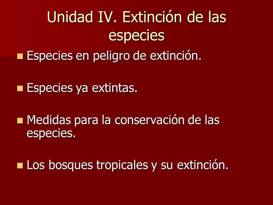Unidad IV. Extinción de las especies