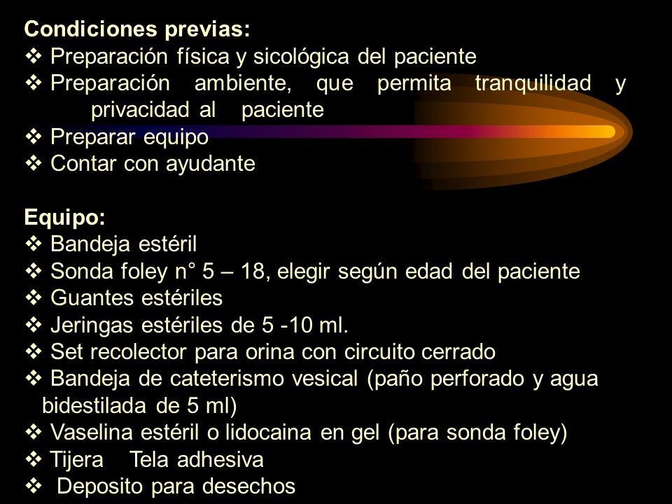 Condiciones previas:Preparación física y sicológica del paciente. Preparación ambiente, que permita tranquilidad y privacidad al paciente.