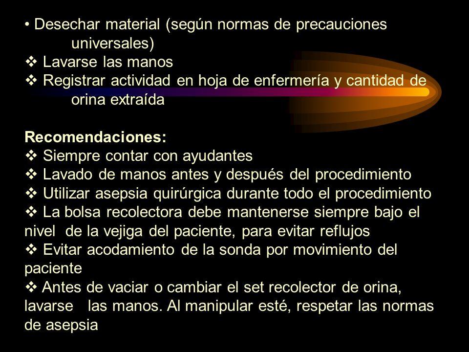 Desechar material (según normas de precauciones universales)