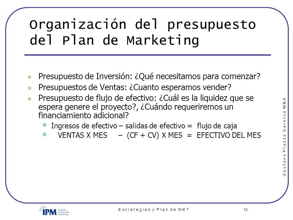 Organización del presupuesto del Plan de Marketing