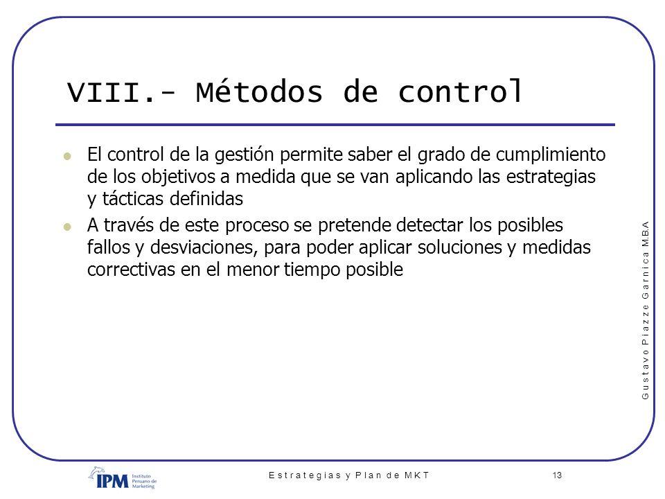 VIII.- Métodos de control