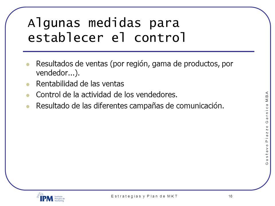 Algunas medidas para establecer el control