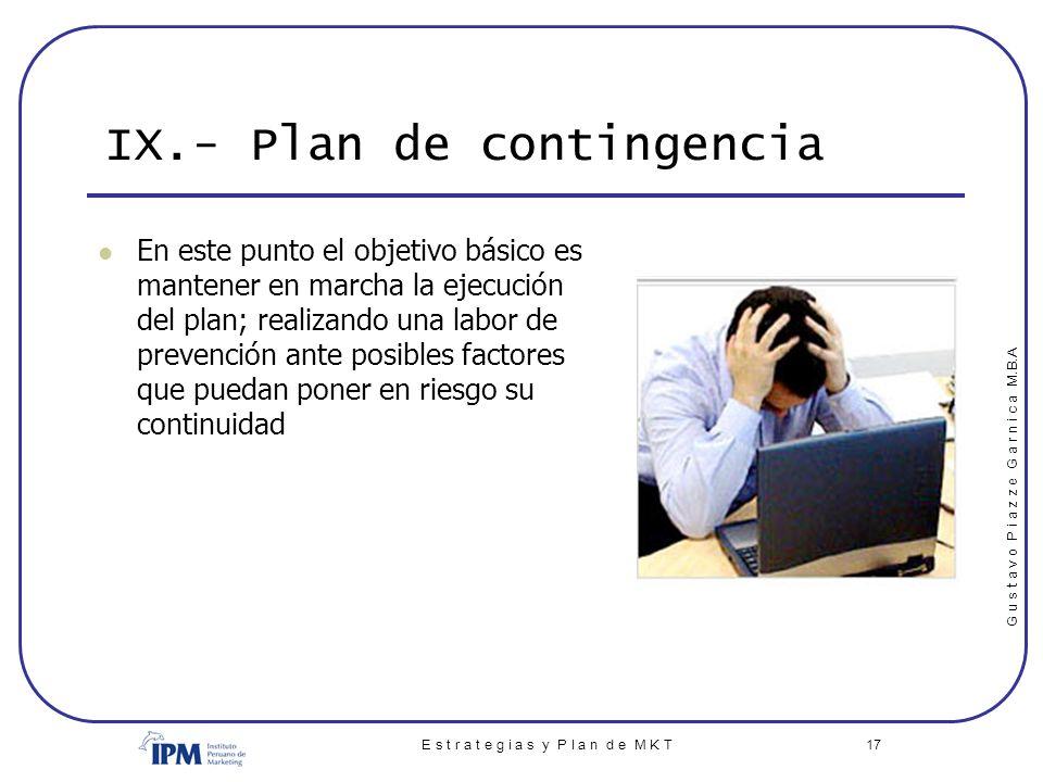 IX.- Plan de contingencia