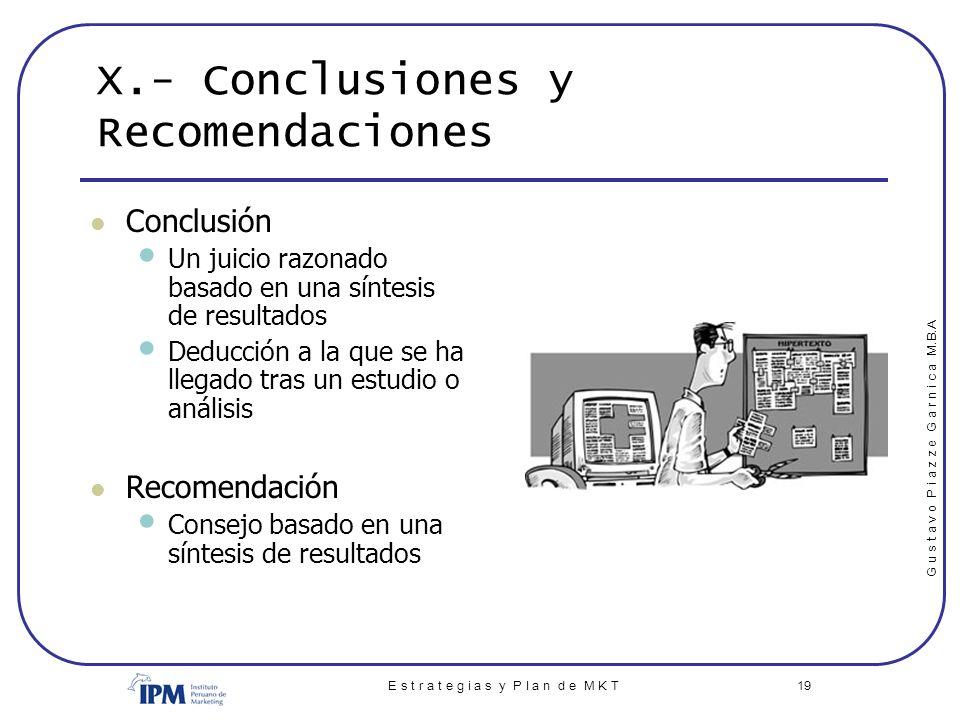 X.- Conclusiones y Recomendaciones