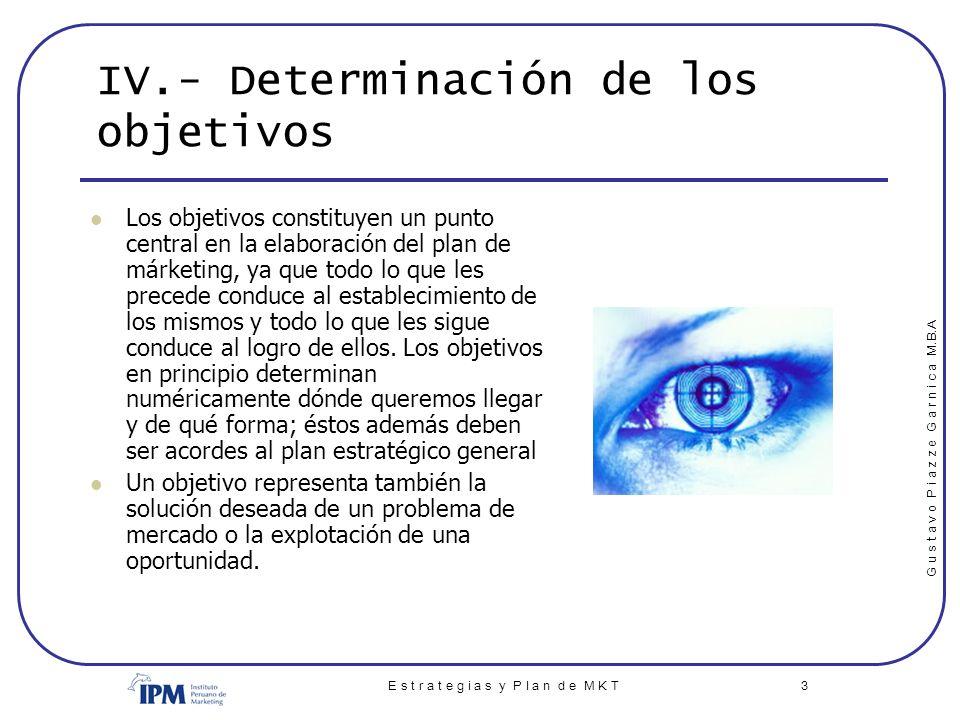 IV.- Determinación de los objetivos