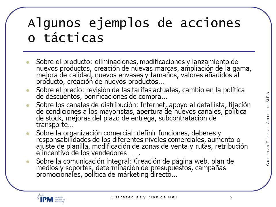 Algunos ejemplos de acciones o tácticas