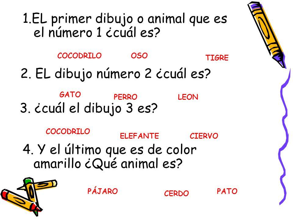 1.EL primer dibujo o animal que es el número 1 ¿cuál es