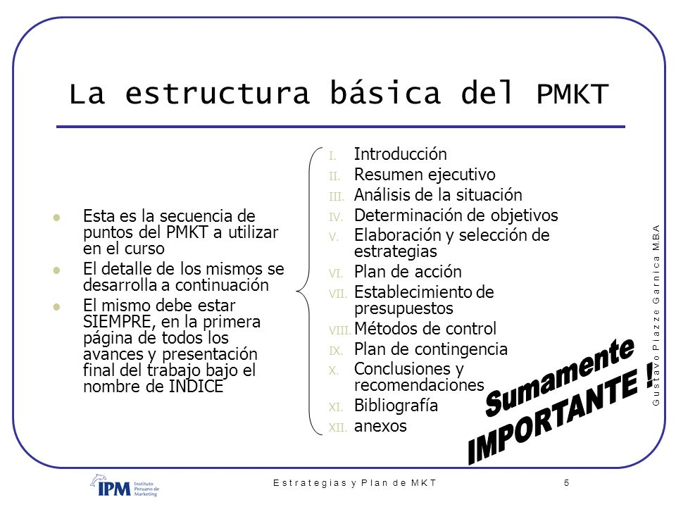 La estructura básica del PMKT