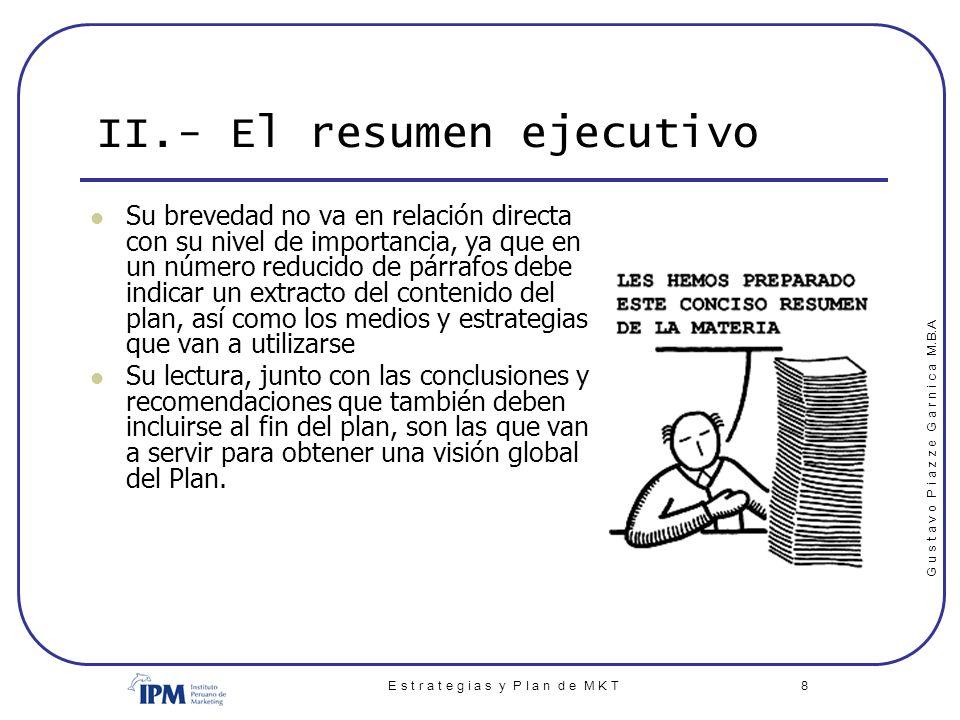 II.- El resumen ejecutivo