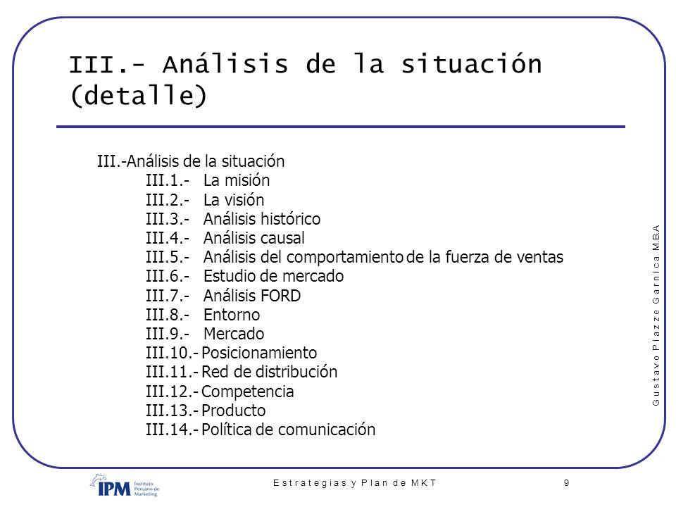 III.- Análisis de la situación (detalle)