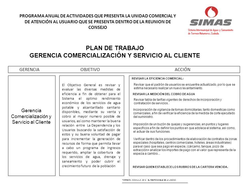 GERENCIA COMERCIALIZACIÓN Y SERVICIO AL CLIENTE