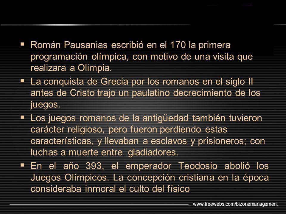 Román Pausanias escribió en el 170 la primera programación olímpica, con motivo de una visita que realizara a Olimpia.