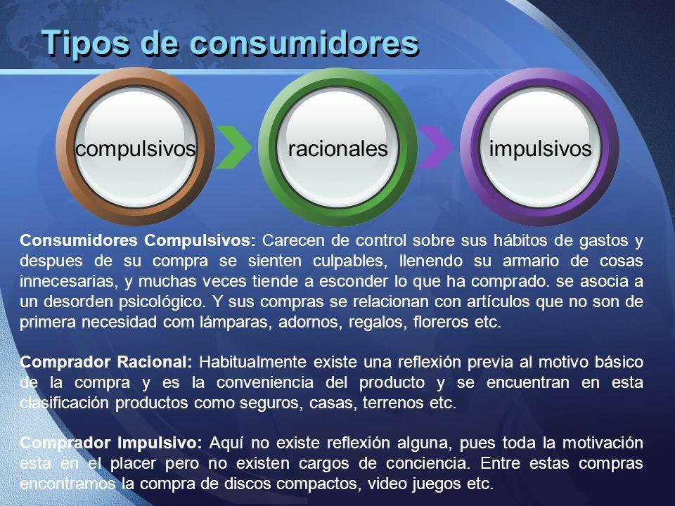 Tipos de consumidores compulsivos racionales impulsivos