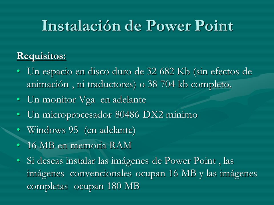 Instalación de Power Point
