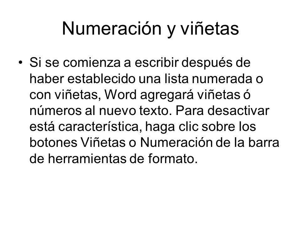 Numeración y viñetas