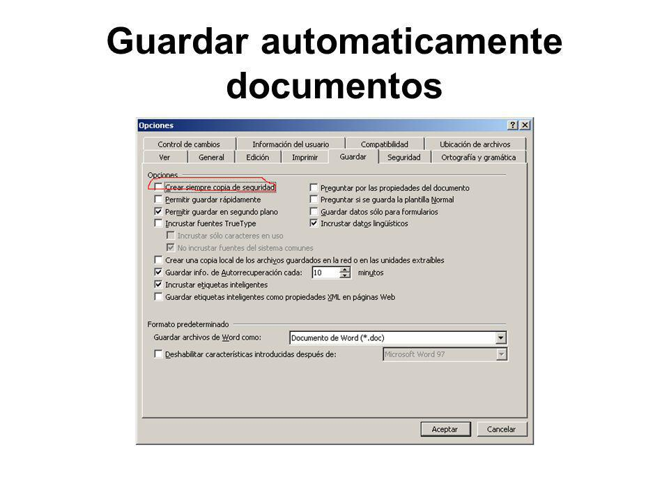Guardar automaticamente documentos
