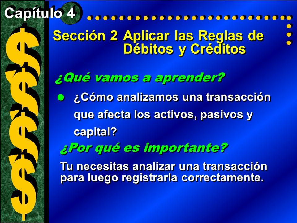 $ $ $ $ Sección 2 Aplicar las Reglas de Débitos y Créditos