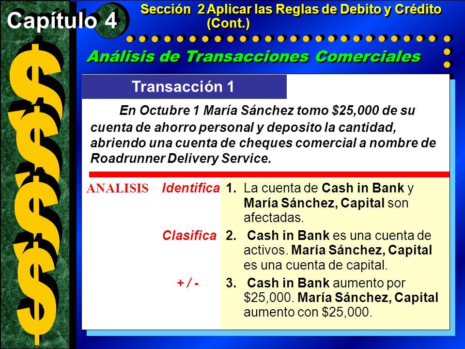 Sección 2 Aplicar las Reglas de Debito y Crédito (Cont.)