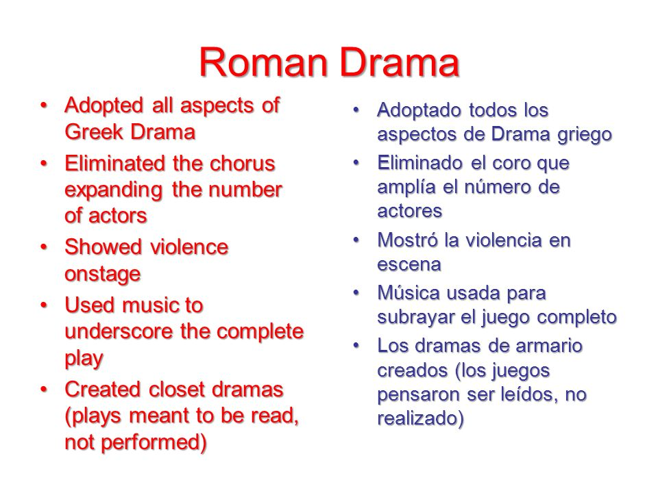 Roman Drama Adopted all aspects of Greek Drama