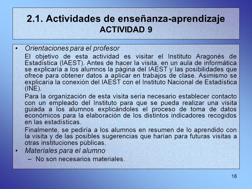 2.1. Actividades de enseñanza-aprendizaje ACTIVIDAD 9
