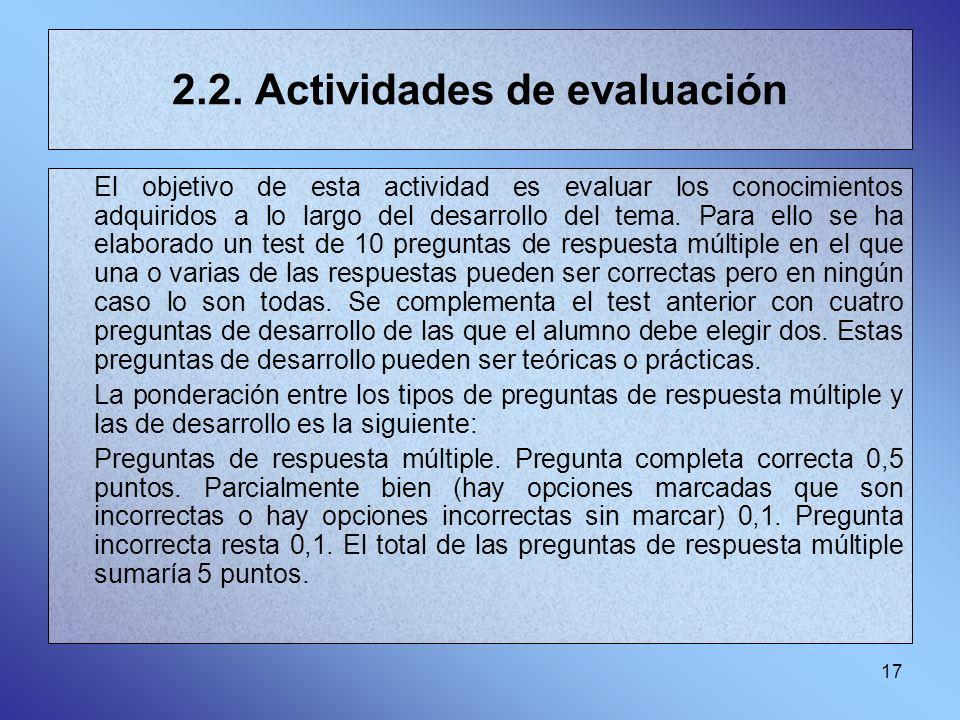 2.2. Actividades de evaluación