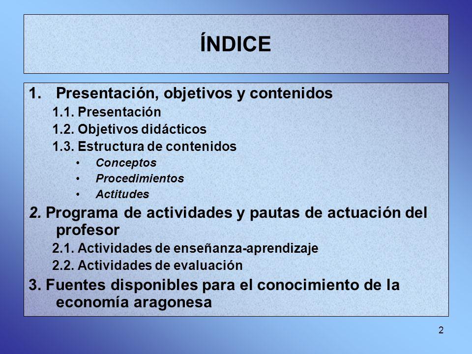 ÍNDICE Presentación, objetivos y contenidos