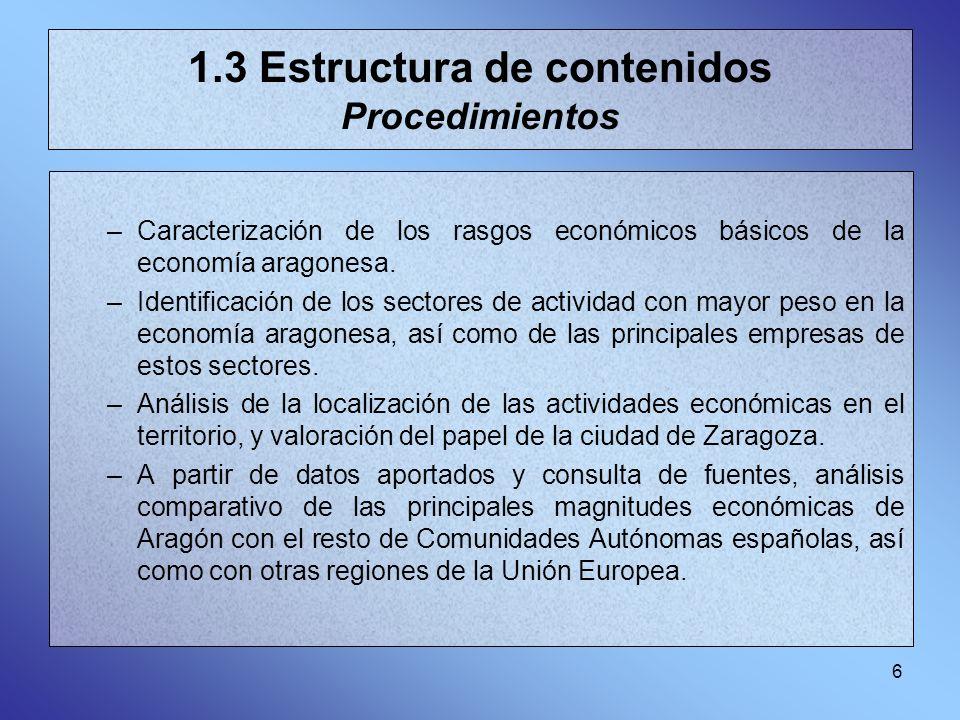 1.3 Estructura de contenidos Procedimientos