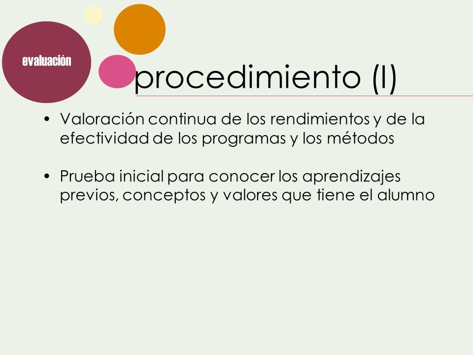 evaluaciónprocedimiento (I) Valoración continua de los rendimientos y de la efectividad de los programas y los métodos.